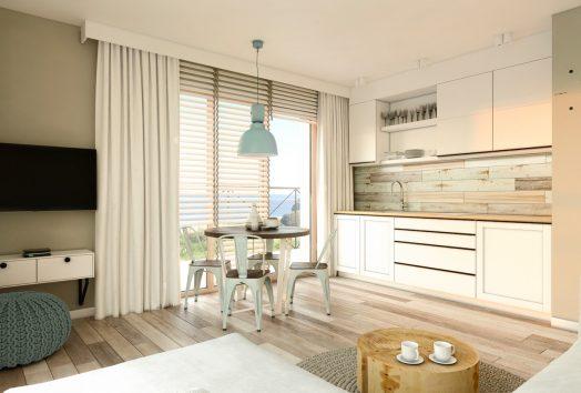 Wizualizacja apartamentu z widokiem na zalew wiślany