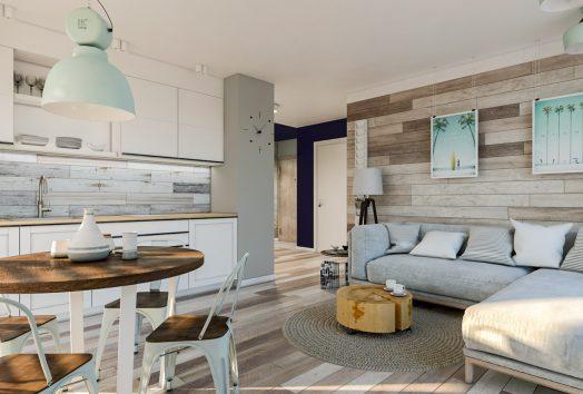 Wizualizacja wnętrza dużego apartamentu PORT-KRYNICA