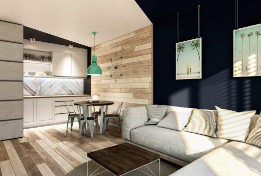Wizualizacja salonu z aneksem kuchennym w mniejszym apartamencie PORT-KRYNICA