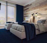 Wizualizacja sypialni w małym apartamencie PORT-KRYNICA nad zalewem.